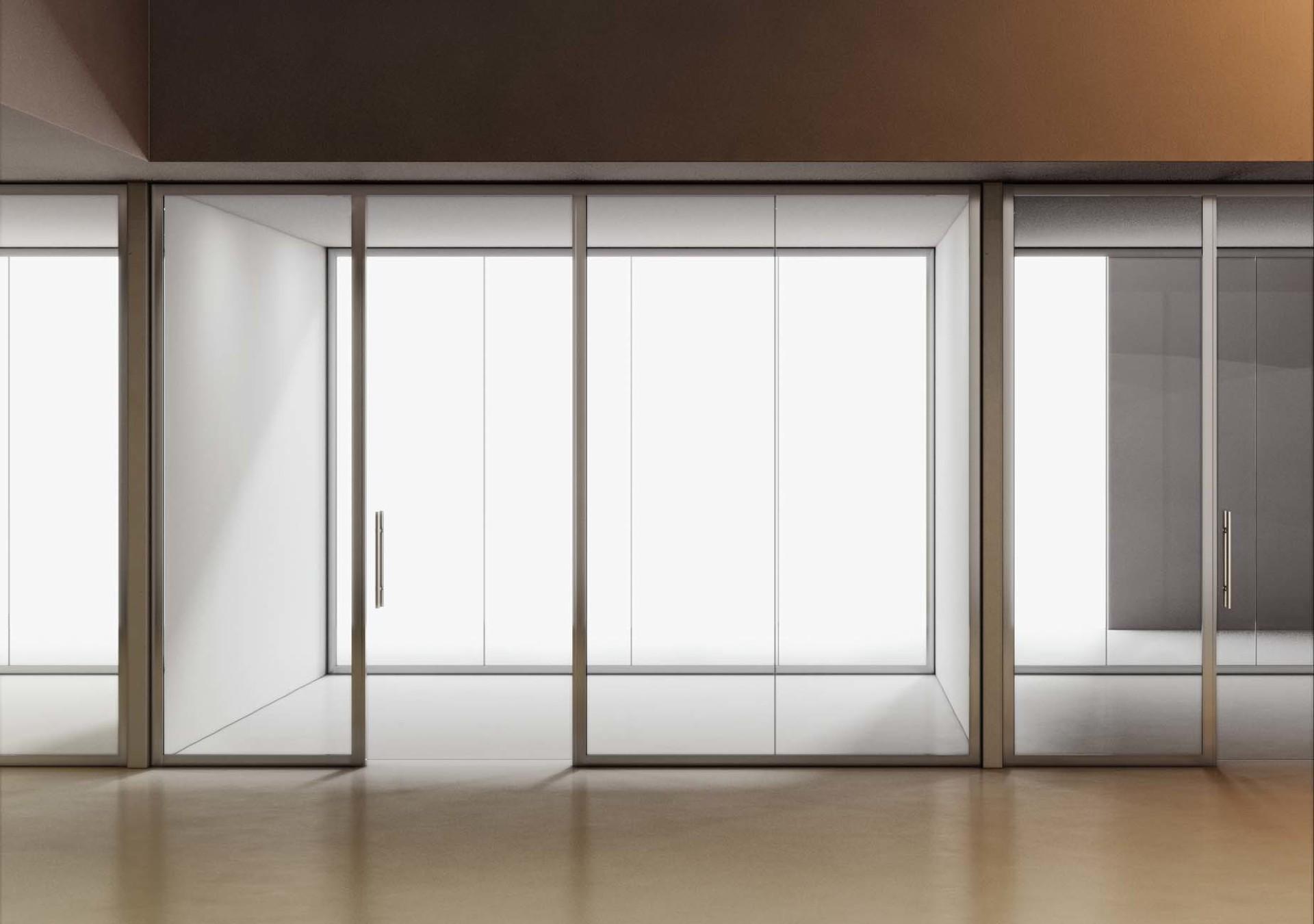 Parete in vetro con binario alluminio