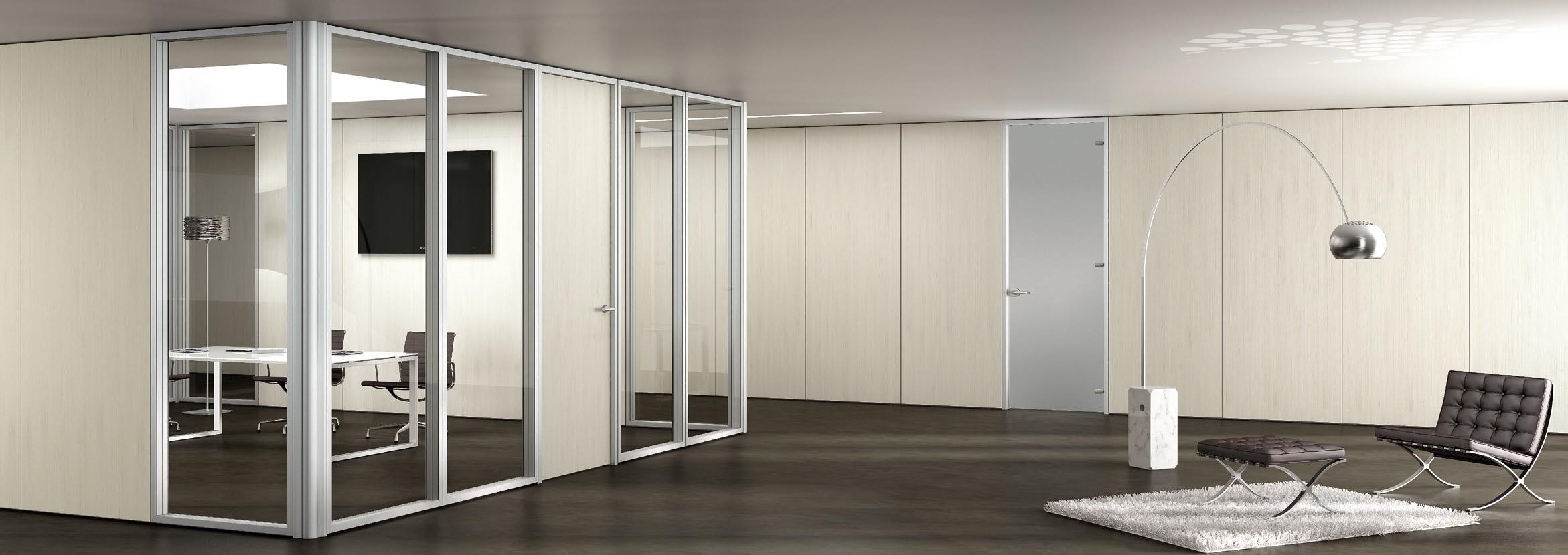 Parete divisoria in vetro e legno