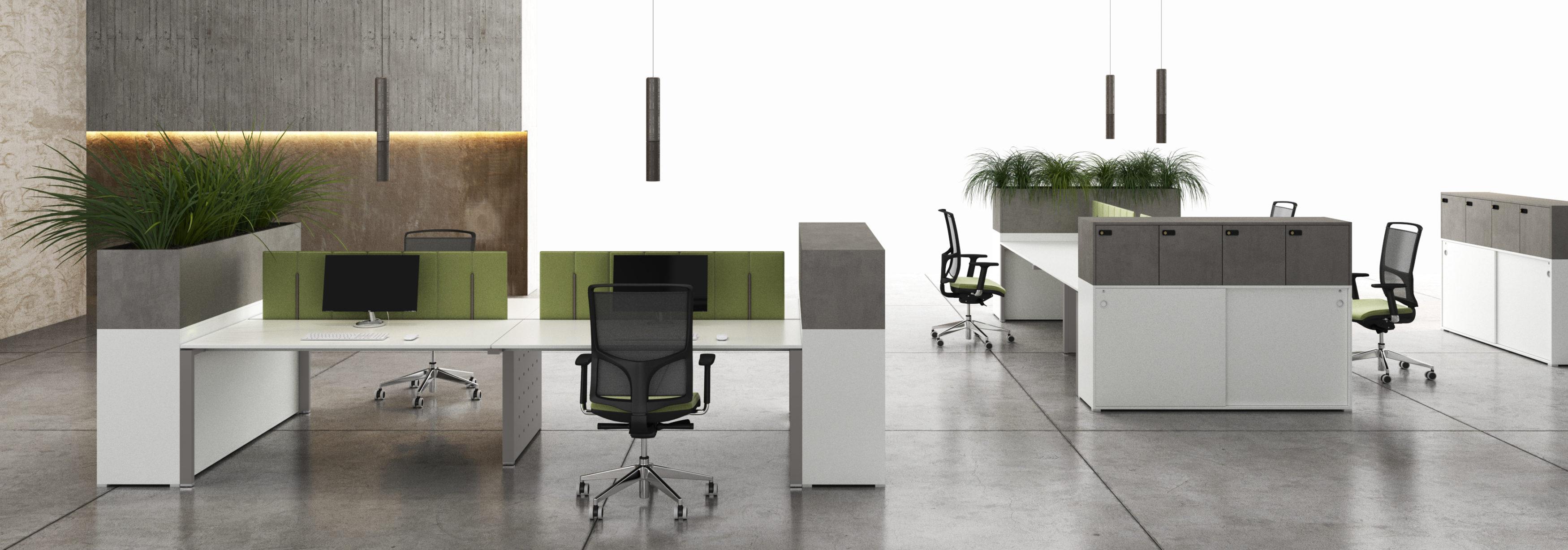 scrivania multipla con pannelli