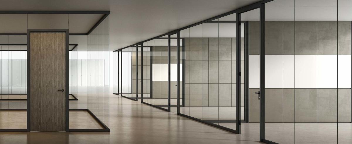 parete monovetro con porta