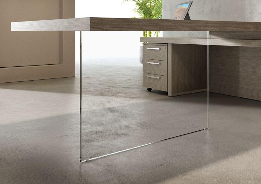struttura scrivania in vetro