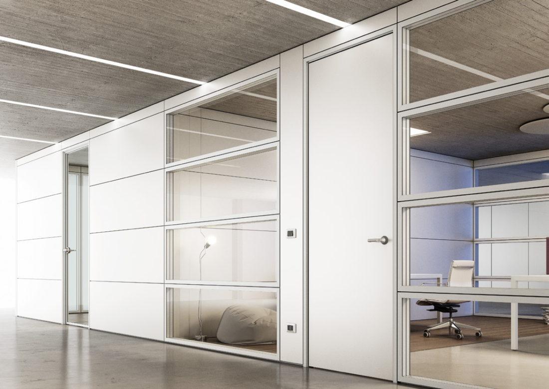 parete divisorie con telaio vetrato bianco