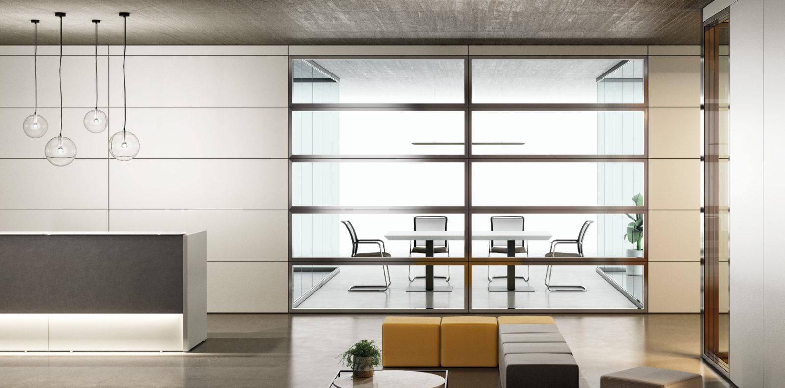 parete con fasce vetrate e cieche